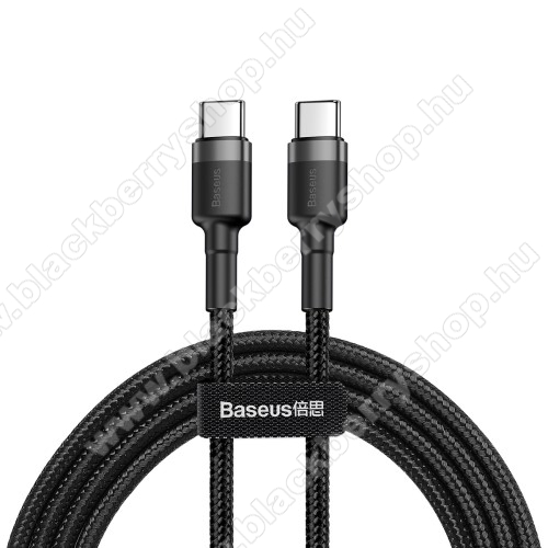 BLACKBERRY EvolveBASEUS Cafule adatátviteli kábel / USB töltő - Type-C / Type-C, PD2.0, 2m, 3A, 480Mbps adatátviteli sebesség, gyorstöltés támogatás, 60W, törésgátló, szövettel bevont, max 20V/3A - FEKETE - GYÁRI
