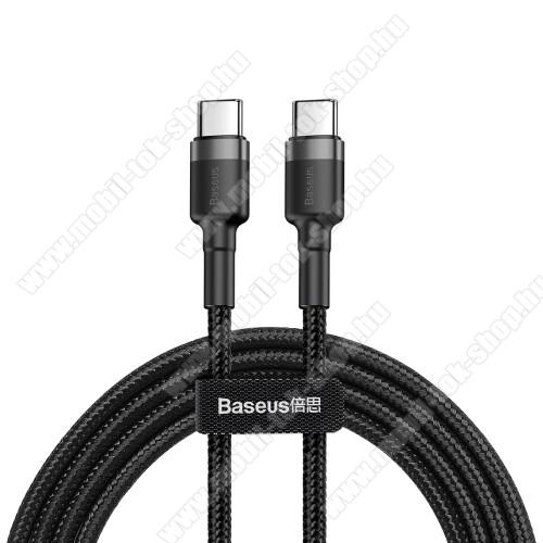 BASEUS Cafule adatátviteli kábel / USB töltő - Type-C / Type-C, PD2.0, 2m, 3A, 480Mbps adatátviteli sebesség, gyorstöltés támogatás, 60W, törésgátló, szövettel bevont, max 20V/3A - FEKETE - GYÁRI