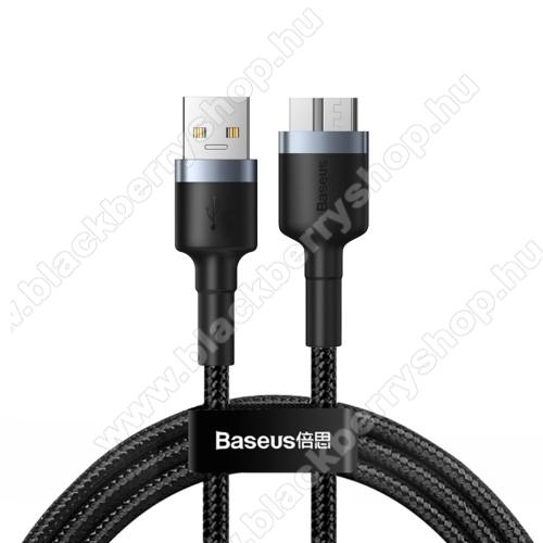 BASEUS Cafule adatátviteli kábel / USB töltő - micro-B / USB 3.0, 1m hosszú, 2A, támogatja a 4 TB-os merevlemezeket, szövettel bevont - FEKETE - GYÁRI