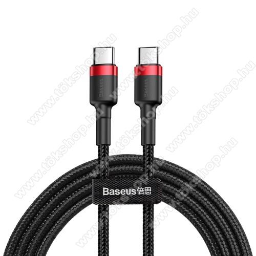 BASEUS Cafule adatátviteli kábel / USB töltő - Type-C / Type-C, PD2.0, 2m, 3A, 480Mbps adatátviteli sebesség, gyorstöltés támogatás, 60W, törésgátló, szövettel bevont, max 20V/3A - PIROS - GYÁRI