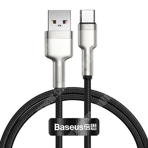 HomTom HT70 BASEUS Cafule adatátviteli kábel / USB töltő - EZÜST - Type-C / USB, 6A, 66W, törésgátló, 1m hosszú, szövettel bevont, gyorstöltés támogatás - GYÁRI
