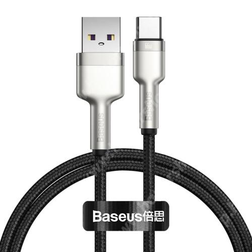 HUAWEI Honor V40 5G BASEUS Cafule adatátviteli kábel / USB töltő - EZÜST - Type-C / USB, 6A, 66W, törésgátló, 1m hosszú, szövettel bevont, gyorstöltés támogatás - GYÁRI