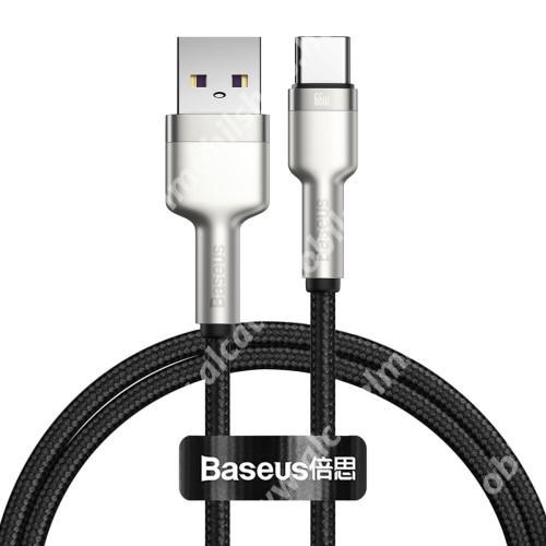 BASEUS Cafule adatátviteli kábel / USB töltő - EZÜST - Type-C / USB, 6A, 66W, törésgátló, 1m hosszú, szövettel bevont, gyorstöltés támogatás - GYÁRI