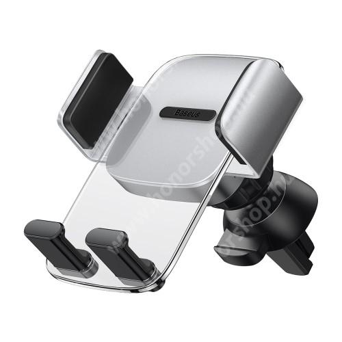 HUAWEI Honor V40 5G BASEUS Easy Control Clamp univerzális autós / gépkocsi tartó - ÁTLÁTSZÓ / EZÜST - szellőzőrácsra rögzíthető, 360°-ban forgatható - GYÁRI