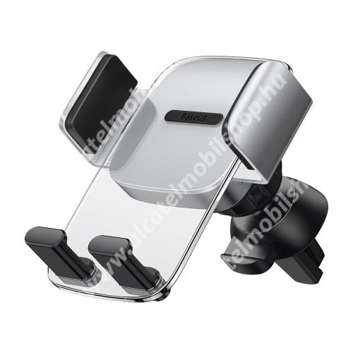 BASEUS Easy Control Clamp univerzális autós / gépkocsi tartó - ÁTLÁTSZÓ / EZÜST - szellőzőrácsra rögzíthető, 360°-ban forgatható - GYÁRI