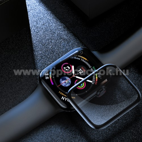 APPLE Watch Series 4 40mm BASEUS előlap védő karcálló edzett üveg - 1db, 0,3mm, 9H - A TELJES ELŐLAPOT VÉDI! - FEKETE - Apple Watch Series 4 40mm