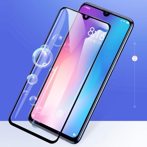 BASEUS előlap védő karcálló edzett üveg - 0,3mm, 9H, A TELJES KIJELZÕT VÉDI! - FEKETE - Xiaomi Mi 9 / Xiaomi Mi 9 Explorer - GYÁRI