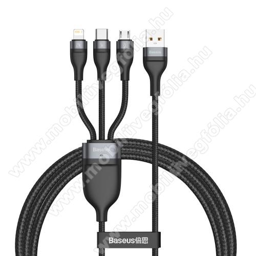 DJI Mavic ProBASEUS Flash Series 3 az 1-ben adatatátviteli kábel / USB töltő - USB Type-C, microUSB, Lightning / USB csatlakozás, 120cm, 5A, 40W, szövettel bevont, gyorstöltés támogatás - FEKETE - GYÁRI