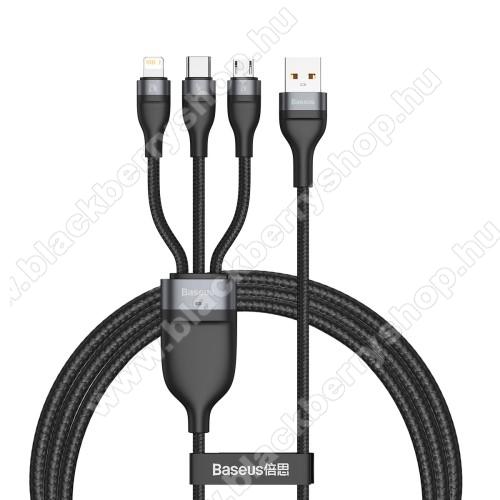 BASEUS Flash Series 3 az 1-ben adatatátviteli kábel / USB töltő - USB Type-C, microUSB, Lightning / USB csatlakozás, 120cm, 5A, 40W, szövettel bevont, gyorstöltés támogatás - FEKETE - GYÁRI