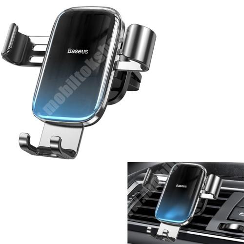 """HUAWEI Y7 Prime (2018) BASEUS Glaze Gravity univerzális autós / gépkocsi tartó - FEKETE / KÉK - szellőzőrácsra rögzíthető,  4.7-6.5""""-os készülékekhez ajánlott - GYÁRI"""