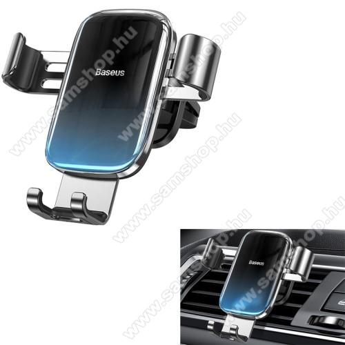 SAMSUNG SGH-F275BASEUS Glaze Gravity univerzális autós / gépkocsi tartó - FEKETE / KÉK - szellőzőrácsra rögzíthető,  4.7-6.5