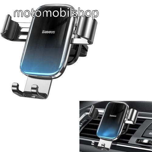 """MOTOROLA Moto E4 BASEUS Glaze Gravity univerzális autós / gépkocsi tartó - FEKETE / KÉK - szellőzőrácsra rögzíthető,  4.7-6.5""""-os készülékekhez ajánlott - GYÁRI"""