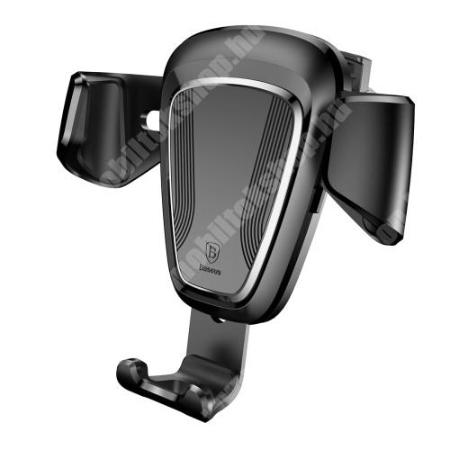 APPLE iPhone X BASEUS Gravity univerzális autós / gépkocsi tartó - FEKETE - szellőzőrácsra rögzíthető, 63-88 mm-ig állítható bölcső - GYÁRI