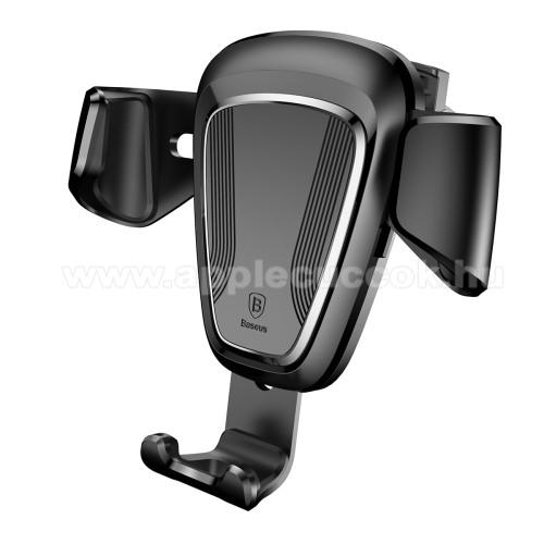 APPLE iPhone SEBASEUS Gravity univerzális autós / gépkocsi tartó - FEKETE - szellőzőrácsra rögzíthető, 63-88 mm-ig állítható bölcső - GYÁRI