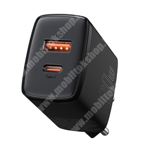 PRESTIGIO MultiPad 8.0 PRO DUO BASEUS hálózati töltő USB / Type C aljzat - FEKETE - Quick Charge 3.0, PD3.0, gyorstöltés támogatás, 20W, 1 x USB 5V / 3A, 9V / 2A, 12V / 1,5A Max 1x Type-C aljzat 5V / 3A, 9V / 2.22A, 12V / 1.67A Max - CCXJ-B01 - GYÁRI