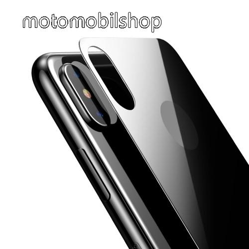 BASEUS hátlap védő karcálló edzett üveg - 0,33mm, A hátlap sík részét védi - FEKETE - APPLE iPhone X / APPLE iPhone XS - GYÁRI