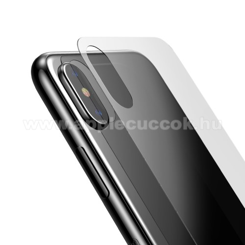 APPLE iPhone X BASEUS hátlap védő karcálló edzett üveg - 0,33mm - APPLE iPhone X / APPLE iPhone XS - GYÁRI