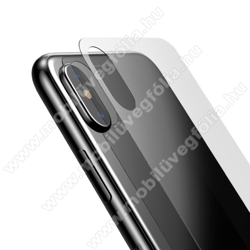 BASEUS hátlap védő karcálló edzett üveg - 0,33mm, A hátlap sík részét védi - APPLE iPhone X / APPLE iPhone XS - GYÁRI