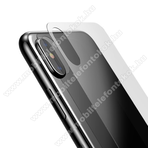 APPLE iPhone XS BASEUS hátlap védő karcálló edzett üveg - 0,33mm - APPLE iPhone X / APPLE iPhone XS - GYÁRI