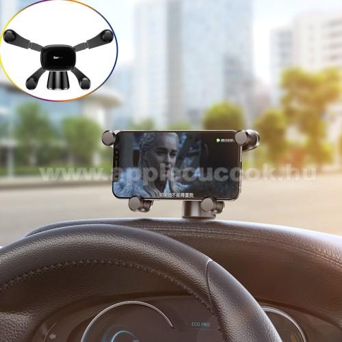 BASEUS Horizontal Gravity autós / gépkocsi tartó - műszerfalra ragasztható, 360°-ban forgatható - FEKETE - GYÁRI