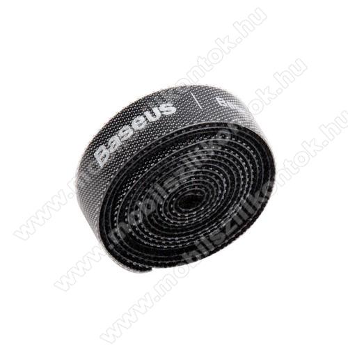 BASEUS kábel szervező, kötegelő, 1db, 1m hosszú, vágható, újrafelhasználható, tépőzáras - FEKETE - GYÁRI