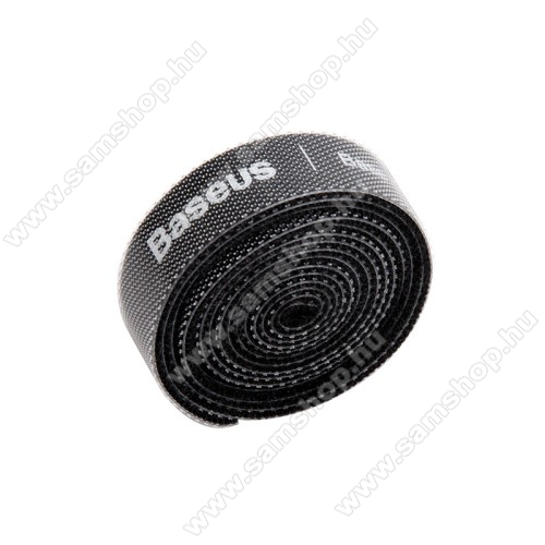 SAMSUNG SGH-i900 OmniaBASEUS kábel szervező, kötegelő, 1db, 1m hosszú, vágható, újrafelhasználható, tépőzáras - FEKETE - GYÁRI