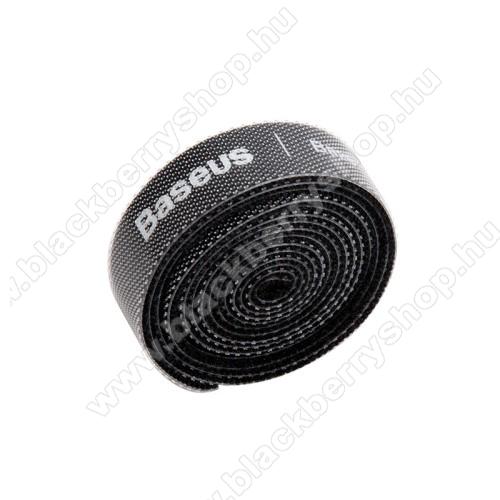 BLACKBERRY 8100BASEUS kábel szervező, kötegelő, 1db, 1m hosszú, vágható, újrafelhasználható, tépőzáras - FEKETE - GYÁRI