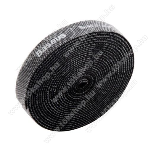 BASEUS kábel szervező, kötegelő, 1db, 3m hosszú, vágható, újrafelhasználható, tépőzáras - FEKETE - GYÁRI