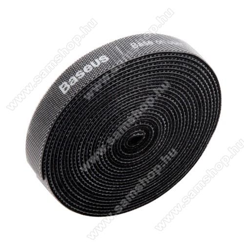 SAMSUNG SGH-i900 OmniaBASEUS kábel szervező, kötegelő, 1db, 3m hosszú, vágható, újrafelhasználható, tépőzáras - FEKETE - GYÁRI