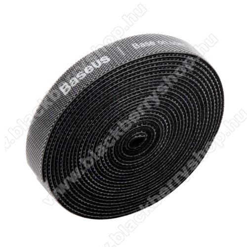 BLACKBERRY 8100BASEUS kábel szervező, kötegelő, 1db, 3m hosszú, vágható, újrafelhasználható, tépőzáras - FEKETE - GYÁRI