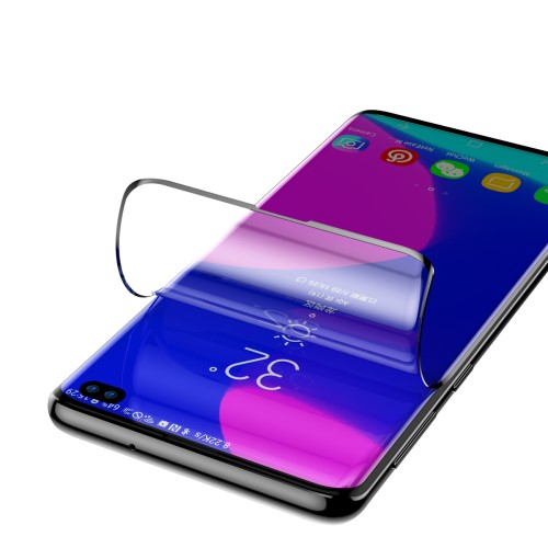 BASEUS képernyővédő fólia - Ultra Clear, PET (műanyag), 0.15mm vékony, 2db, A TELJES KÉPERNYŐT VÉDI! - FEKETE - SAMSUNG SM-G975F Galaxy S10+ - GYÁRI