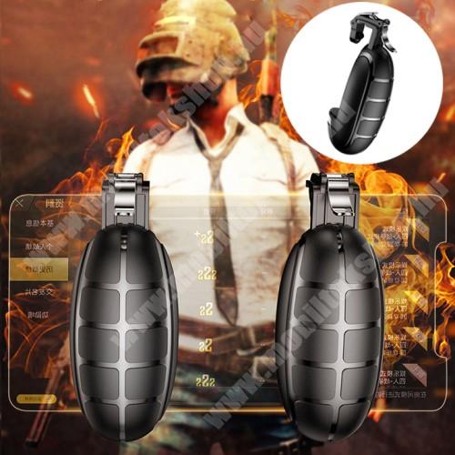 """ZTE Blade A520 BASEUS Kontroller / Joystick - GRÁNÁT FORMÁJÚ - ravasz PUBG, STG, FPS, TPS lövöldözős játékokhoz, 6.5""""-os méretig kompatibilis okostelefonokkal - FEKETE - GYÁRI"""
