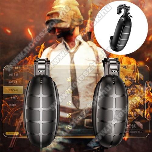 ZTE S30 SEBASEUS Kontroller / Joystick - GRÁNÁT FORMÁJÚ - ravasz PUBG, STG, FPS, TPS lövöldözős játékokhoz, max 83mm széles készülékekkel kompatibilis - FEKETE - GYÁRI