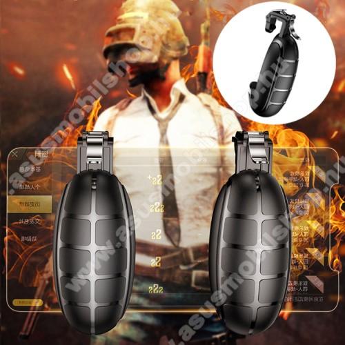 ASUS Zenfone Go (ZB552KL)BASEUS Kontroller / Joystick - GRÁNÁT FORMÁJÚ - ravasz PUBG, STG, FPS, TPS lövöldözős játékokhoz, max 83mm széles készülékekkel kompatibilis - FEKETE - GYÁRI