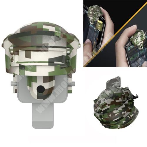 HomTom C8 BASEUS Kontroller / Joystick - SISAK FORMÁJÚ - 2db, ravasz PUBG, STG, FPS, TPS lövöldözős játékokhoz, ujjgyűrűvel, max 10mm vastag készülékekkel kompatibilis - ZÖLD TEREPMINTÁS - GYÁRI