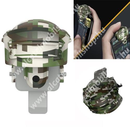 BASEUS Kontroller / Joystick - SISAK FORMÁJÚ - 2db, ravasz PUBG, STG, FPS, TPS lövöldözős játékokhoz, ujjgyűrűvel, max 10mm vastag készülékekkel kompatibilis - ZÖLD TEREPMINTÁS - GYÁRI