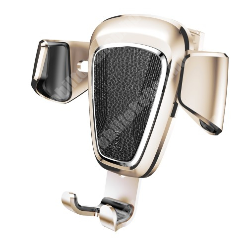 PHILIPS W3568 BASEUS Leather Gravity univerzális autós / gépkocsi tartó - ARANY - szellőzőrácsra rögzíthető, bőrrel bevont, 63-88 mm-ig állítható bölcső - GYÁRI