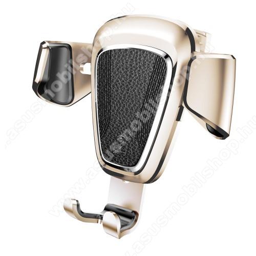 ASUS Zenfone 2 Laser (ZE500KL)BASEUS Leather Gravity univerzális autós / gépkocsi tartó - ARANY - szellőzőrácsra rögzíthető, bőrrel bevont, 63-88 mm-ig állítható bölcső - GYÁRI