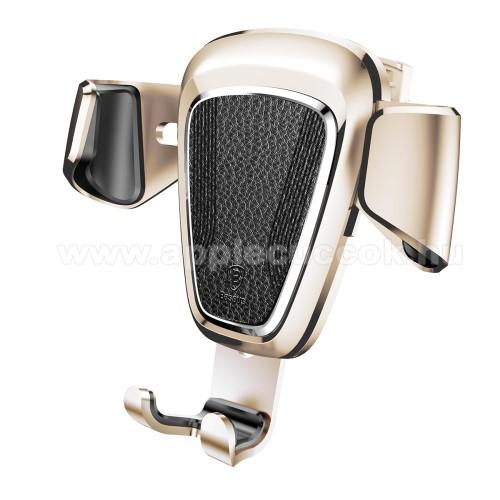 APPLE iPhone 8 PlusBASEUS Leather Gravity univerzális autós / gépkocsi tartó - ARANY - szellőzőrácsra rögzíthető, bőrrel bevont, 63-88 mm-ig állítható bölcső - GYÁRI