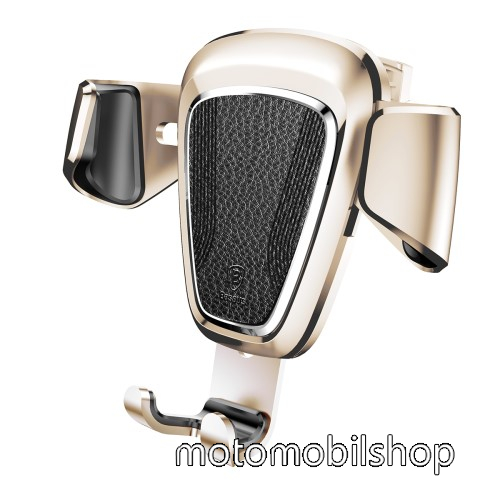 BASEUS Leather Gravity univerzális autós / gépkocsi tartó - ARANY - szellőzőrácsra rögzíthető, bőrrel bevont, 63-88 mm-ig állítható bölcső - GYÁRI