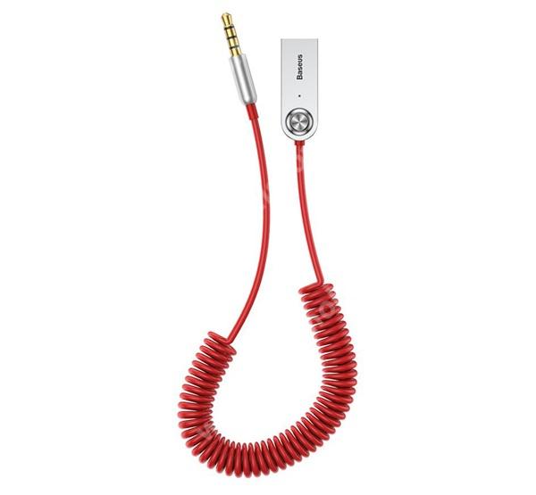 ACER Liquid Z3 BASEUS M01 audió kábel - USB csatlakozó, 3.5mm jack, 120cm, AUX, spirál kábel - PIROS - CABA01-09 - GYÁRI