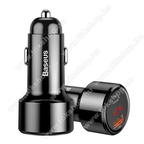 BASEUS Magic szivargyújtós töltő / autós töltő - 1x USB aljzat: 4.5V/5A, 5V/4.5A, 9V/3A, 12V/3A, 20V/2.25A; 1x Type-C PD aljzat: 5V/3A, 9V/3A, 12V/3A, 15V/3A, 20V/2.25A, összesen 5V/6A (max!), LED kijelző, kábel NÉLKÜL! - FEKETE - GYÁRI