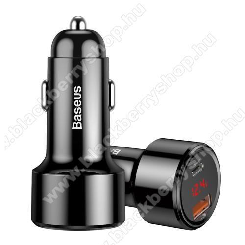 BLACKBERRY 9810 TorchBASEUS Magic szivargyújtós töltő / autós töltő - 1x USB aljzat: 4.5V/5A, 5V/4.5A, 9V/3A, 12V/3A, 20V/2.25A; 1x Type-C PD aljzat: 5V/3A, 9V/3A, 12V/3A, 15V/3A, 20V/2.25A, összesen 5V/6A (max!), LED kijelző, kábel NÉLKÜL! - FEKETE - GYÁRI