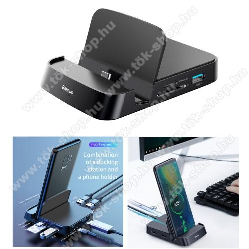 BASEUS Mate asztali töltő / dokkolóállomás - 7 portos bővítés, HDMI port, 1x USB3.0 5Gbps port, 2x USB2.0 port, 15W Type-C PD port 5V/3A (max!), gyorstöltés támogatás, SD/MicroSD kártyaolvasó, 110 x 80 x 21mm - FEKETE - GYÁRI