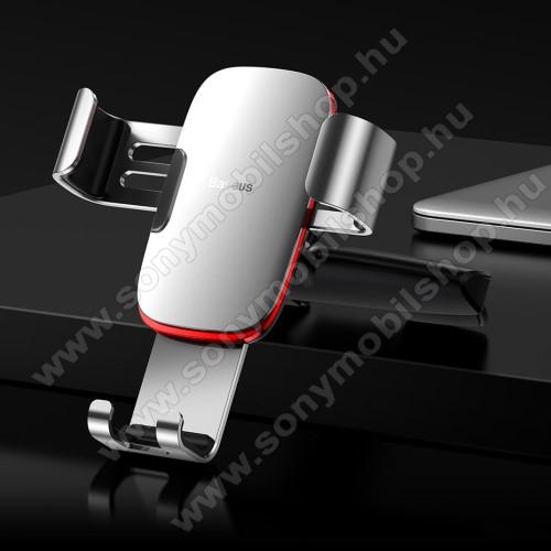 SONY Xperia M DUALBASEUS Metal Gravity univerzális autós / gépkocsi tartó - EZÜST - CD / DVD lejátszóba helyezhető, 63-88 mm-ig állítható bölcső - GYÁRI
