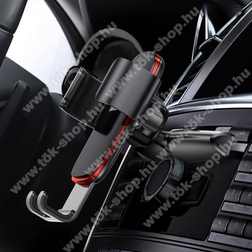 BASEUS Metal Gravity univerzális autós / gépkocsi tartó - FEKETE - CD / DVD lejátszóba helyezhető, 63-88 mm-ig állítható bölcső - GYÁRI