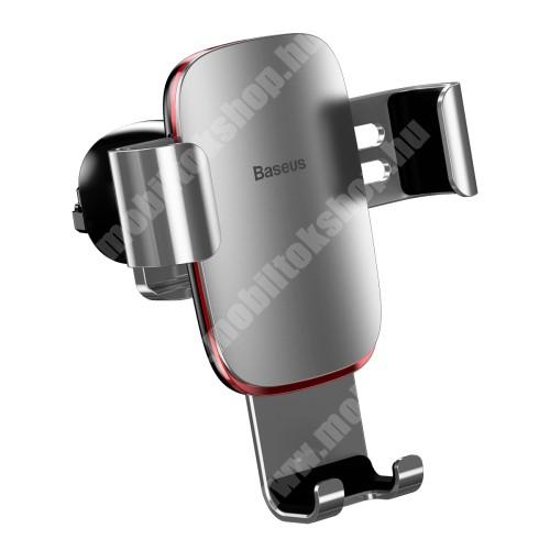 """Blackview R6 Lite BASEUS Metal Gravity univerzális autós / gépkocsi tartó - EZÜST - alumínium, szellőzőrácsra rögzíthető, 63-88 mm-ig állítható bölcső, 4-6""""-os készülékekhez - GYÁRI"""