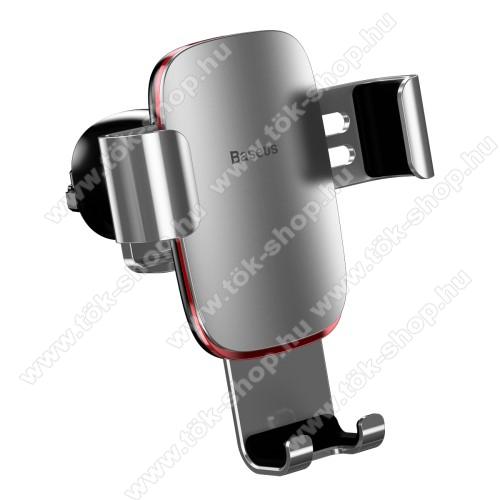 BASEUS Metal Gravity univerzális autós / gépkocsi tartó - EZÜST - alumínium, szellőzőrácsra rögzíthető, 63-88 mm-ig állítható bölcső, 4-6