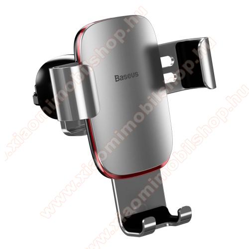 Xiaomi MI-2sBASEUS Metal Gravity univerzális autós / gépkocsi tartó - EZÜST - alumínium, szellőzőrácsra rögzíthető, 63-88 mm-ig állítható bölcső, 4-6