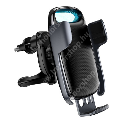 HUAWEI Honor V40 5G BASEUS Milky Way univerzális autós / gépkocsi tartó - szellőzőrácsra rögzíthető, infravörös érzékelő automatikusan nyit és zár, LED töltésjelző - 15W QI wireless vezetéknélküli funkció, gyorstöltés támogatás, fogadóegység nélkül! - FEKETE - GYÁRI